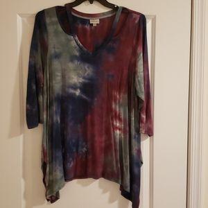 Vneck Tie dye tunic with cutouts - plus size
